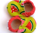SALE - watermelon shoes baby shoes soft sole shoes baby girl watermelon booties green and pink and red shoes watermelon baby clothing crib