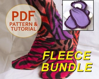 Fleece Socks and Scarf / Scarflette 2 for 1 Pattern Bundle - Sewing Pattern and Tutorial PDF - All Sizes EASY SEW