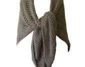 """Hand Knit Shawl - Sable Brown Triangle Lace Alpaca - Large/Extra Large 50"""" x 100"""""""
