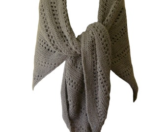 "Hand Knit Shawl - Sable Brown Triangle Lace Alpaca 50"" x 100"""