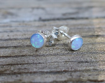 Vintage 925 Blue Lab Opal Stud Earrings