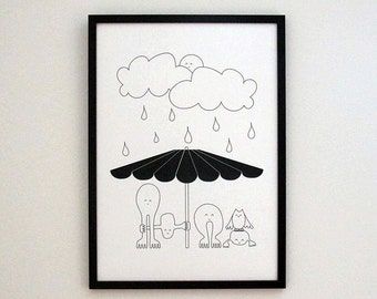 Childish art, Black white art, Umbrella art, wall art, nursery wall art, digital art prints