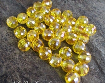 8 mm faceted round crystal glass bead clear yellow lemon sunshine, lot of 10 pcs