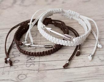 White and brown arrow bracelets Macrame bracelet Friendship bracelet Matching couple bracelets Couples set His and her bracelet - set of 4