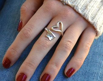 Couples Ring, Key Heart Ring, skeleton key ring, Girlfriend Boyfriend Rings, Promise Ring, Key to my Heart, valentines day gift, spoon ring