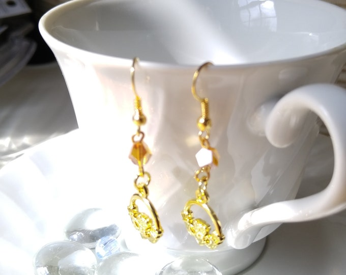 Claddagh Earrings Gold Claddagh Honey Crystal Dangle Irish Earrings Celtic Earrings Gold plated 3D Earrings _Collegedreaminkid_#463463
