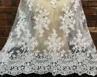 White Lace, Lace Fabric, Embroidered Tulle, Bridal Lace, White Bridal Lace, Bridal Supply, Beuaitufl Lace, Floral Lace, E2-013