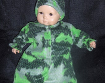 Green Fleece Camo B Bunting with Hat Doll Clothes Made to Fit Bitty Baby Boy and Other 15 inch Dolls