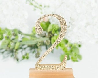 1-10 True Gold Glittered Wedding Table Numbers, Gold Glittered Table Numbers, Wedding Table Numbers