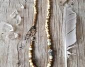 Om mani padme hum yoga necklace - spiritual yoga ethnic jewelry - wrap bracelet
