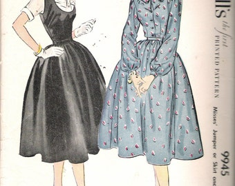 Vintage 1954 McCall's 9945 Jumper or Skirt & Blouse Sewing Pattern Size 12 Bust 30""