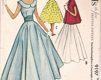 """Vintage 1955 McCall's 9197 Teen Evening Dress in Two Lengths & Jacket Size 16 Bust 34"""" UNCUT"""