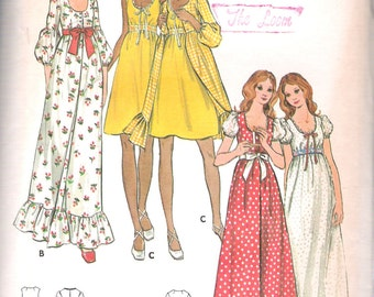 """Vintage 1970s Butterick 6205 Misses Nightgown and Robe  Empire Waist Scoop Neck Sewing Pattern Size 14 Bust 36"""" UNCUT"""