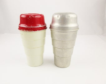 Two Fun 'Carnation Malted Milk' Aluminum Shakers - Super Fun Vintage - One Painted Red and Cream - Useful and Usable Shakers