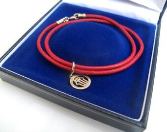 kabbalah amulet red string cord 14k solid gold hamsa evil eye charm bracelet lot of luck protection bracelet handmade