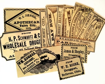 DRUG STORE LABELS - 12 Reproduction Vintage Apothecary Labels, Antique Bottle Labels, Vintage Inspired Medicine Labels, Sticker Pack