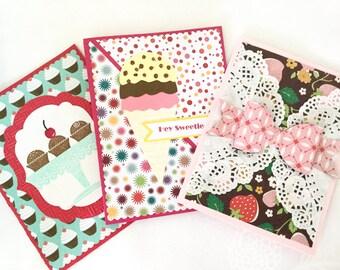 Set of 3 Handmade cards: happy birthday - yummy cards - cupcakes - ice cream cone - strawberries - hey sweetie - blank - birthday cards