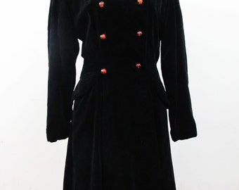 1960s Velvet Lord & Taylor Winter Coat with Amber Apple Juice Lucite Buttons