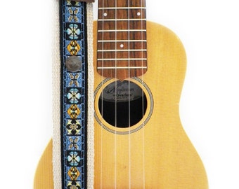 Hemp Mandolin Strap or Ukulele Strap - Blue Butterflies and Bees Ribbon on Organic Hemp Webbing and Leather Ends - 1 or 2 peg, A or F Style