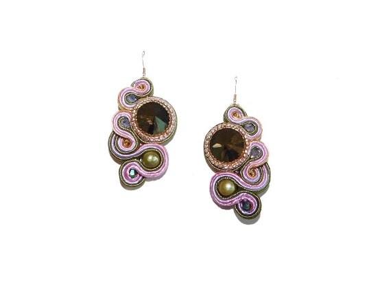 'Wisteria Blossom' Soutache Drop Earrings with Green Swarovski Rivoli, Freshwater Pearls, 14 K Gold-Filled Hooks