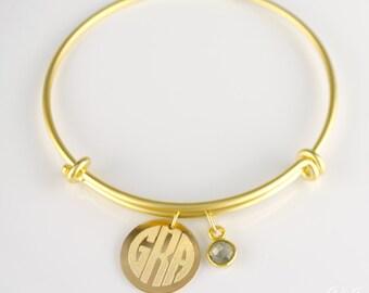 Monogrammed Bangle Bracelet, birthstone bangle bracelet, Personalized charm bangle with initials Bracelet, Gold Bangle, bridesmaid gift