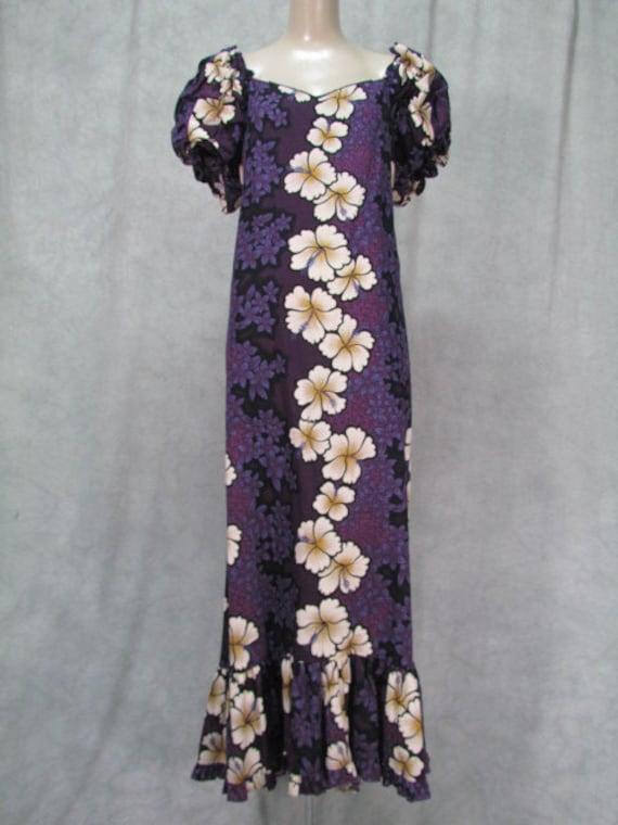 Plus size vintage hawaiian dress purple wedding party long for Plus size hawaiian wedding dresses