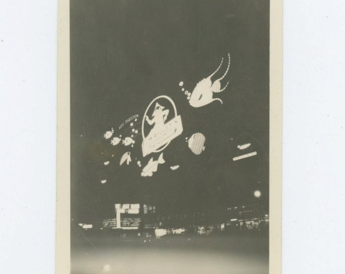 Neon Wrigley's Gum Advertising, Times Square, New York City, c1930s: Vintage Snapshot Photo (65459)