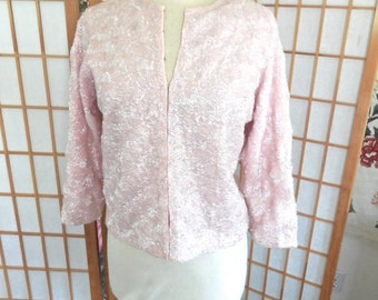 Vintage 50s Bubblegum Pink Sequin Wool Sweater with Quarter Sleeves