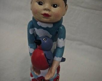 Poppy, Clouds, Bird ... OOAK Found Object Folk Art Doll