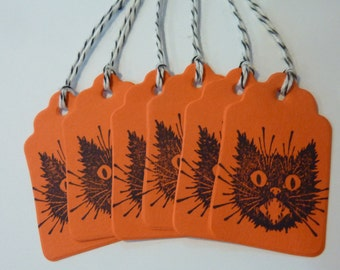 18 Halloween Party Favor Gift Tags Vintage Cat Hang Tags Craft Supply Lot