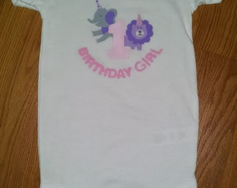 Adorable 1st Birthday Girl Onesie in a Zoo Animals Theme and Matches Sweet Safari Party Supplies