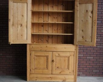 Antique English Pine Cupboard / Cabinet / Linen Cabinet / Pine Hutch / Bookcase / Farmhouse Cupboard