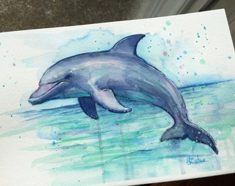 Dolphin Watercolor Painting Dolphin Art Sea Creatures Watercolor, Animal Painting, Dolphin Illustration, Colorful Animal Painting, Marine