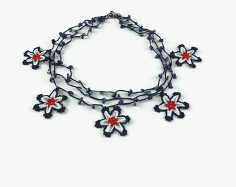 crochet necklace, bead flower necklace, Beaded Necklace, Flower Necklace, textile necklace, crochet jewelry, beaded jewelry, boho necklace