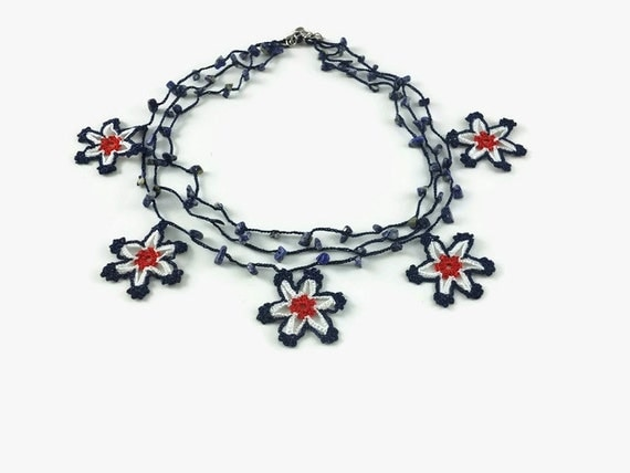 Crochet Necklace Red Blue White Layered Star Necklace Crochet Star Beaded Necklace with Stone Beads Choker 04th of July Knitted textile Jewe