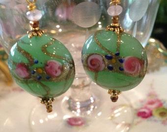 Venetian Murano glass jade green beaded earrings cottage chic wedding cake bead Fiorato rose earrings drop earrings