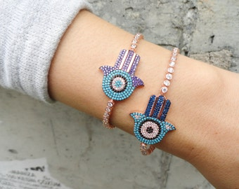 Silver hamsa bracelet, sterling silver hamsa tennis bracelet, hand of fatima silver bracelet, arabic style jewelry, turkish eye bracelet