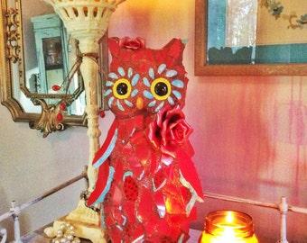 Mosaic owl, garden art, owl sculpture, owl decor, home decor