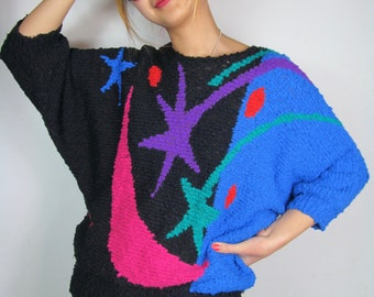 Vintage 90s Black and Colorful Woven Abstract Sweater