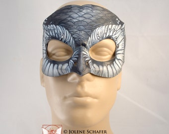 Snowy Owl Leather Silver Grey and White Owl Cosplay Mask