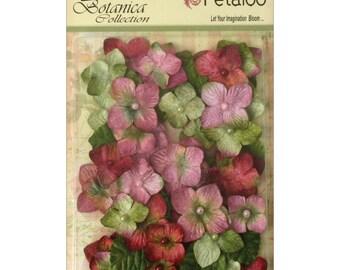 VELVET FLOWERS, Velvet Hydrangea Petals, Velvet Petals , Flat Paper Flowers, Petaloo Flowers, Vintage Flower Petals, Vintage Paper Flowers
