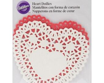 HEART DOILIES, 4 inch Heart Doilies, Heart Shape Doily - Heart Shape Doilies - 4 inch Doilies - Heart Die Cuts - Valentine Hearts