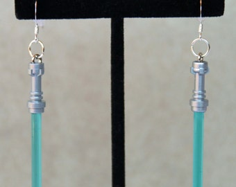 Star Wars Earrings, STERLING SILVER hooks, Blue Jedi Lego® Lightsaber Earrings, Hypoallergenic, Sensitive Ears, Light Saber Earrings