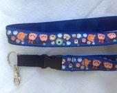 LANYARD, Tsum Tsum, Detachable, blue ribbon on blue webbing, keys, ID, Bus Pass, Security Badge