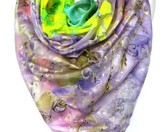 Square Silk Scarf. Hand Paint Scarf. Woman Shawl. Silk Art. Gift for Her Silk Painting head Scarf. 35x35in Ready2Ship