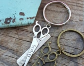 Simple and Sweet Scissor and Comb Charm Hair Stylist Keychain