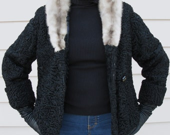 Lovely 1950's Black Persian Lamb Crop Jacket Silver Mink Collar Soft Fur Coat