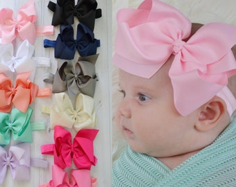 PICK ANY large bow headband, baby headband, ribbon bow, newborn headband, newborn photo prop, Bow headbands