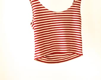 90s striped OXFORD tank top RED and white jersey bodycon
