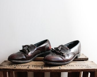 Vintage 1960s Bordeaux Wine Red Loafers Leather Shoes